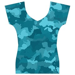 Camouflage Teal Women s V-Neck Cap Sleeve Top