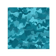 Camouflage Teal Small Satin Scarf (square)