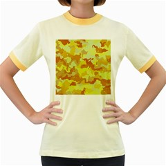 Camouflage Yellow Women s Fitted Ringer T Shirts