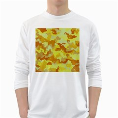 Camouflage Yellow White Long Sleeve T Shirts