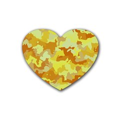 Camouflage Yellow Heart Coaster (4 Pack)