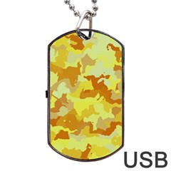 Camouflage Yellow Dog Tag Usb Flash (one Side)