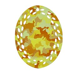 Camouflage Yellow Oval Filigree Ornament (2-Side)