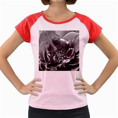 Black And White Rose Women s Cap Sleeve T Shirt