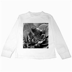 Black And White Rose Kids Long Sleeve T Shirts