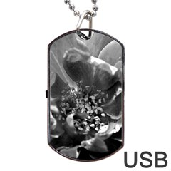 Black and White Rose Dog Tag USB Flash (One Side)