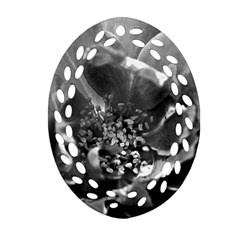 Black And White Rose Oval Filigree Ornament (2 Side)