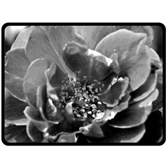 Black And White Rose Double Sided Fleece Blanket (large)