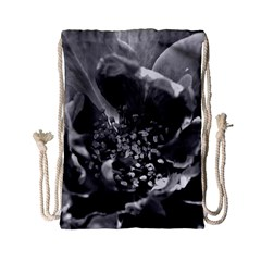 Black and White Rose Drawstring Bag (Small)