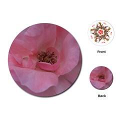 Pink Rose Playing Cards (round)