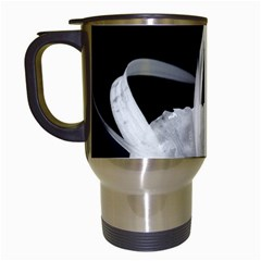 Exotic Black And White Flowers Travel Mugs (white)