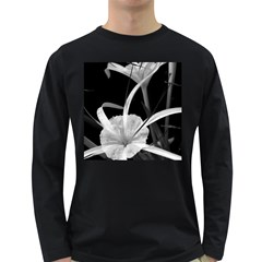 Exotic Black And White Flowers Long Sleeve Dark T Shirts