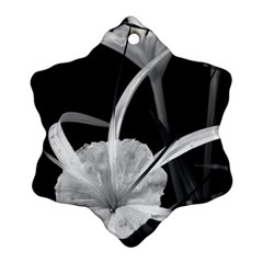 Exotic Black and White Flowers Snowflake Ornament (2-Side)
