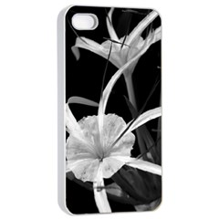 Exotic Black And White Flowers Apple Iphone 4/4s Seamless Case (white)