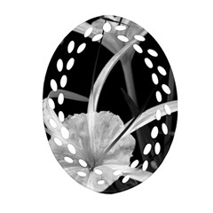 Exotic Black and White Flowers Oval Filigree Ornament (2-Side)