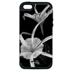 Exotic Black And White Flowers Apple Iphone 5 Hardshell Case (pc+silicone)