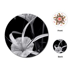 Exotic Black And White Flowers Playing Cards (round)