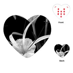Exotic Black And White Flowers Playing Cards (heart)