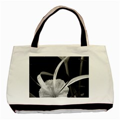 Exotic Black And White Flowers Basic Tote Bag