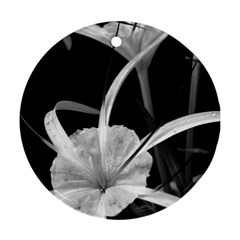 Exotic Black And White Flowers Round Ornament (two Sides)