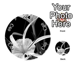 Exotic Black And White Flowers Playing Cards 54 (round)