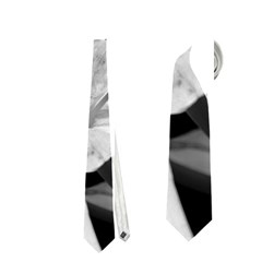 Exotic Black and White Flowers Neckties (One Side)