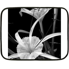 Exotic Black and White Flowers Fleece Blanket (Mini)
