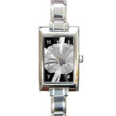 Exotic Black And White Flower 2 Rectangle Italian Charm Watches
