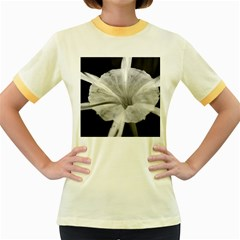 Exotic Black And White Flower 2 Women s Fitted Ringer T Shirts