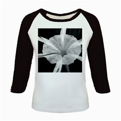 Exotic Black And White Flower 2 Kids Baseball Jerseys