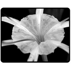Exotic Black and White Flower 2 Fleece Blanket (Medium)