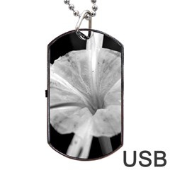 Exotic Black and White Flower 2 Dog Tag USB Flash (One Side)