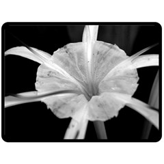 Exotic Black And White Flower 2 Double Sided Fleece Blanket (large)