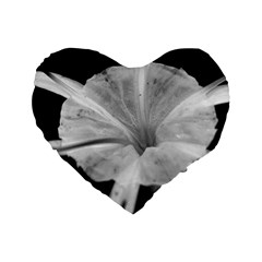 Exotic Black And White Flower 2 Standard 16  Premium Flano Heart Shape Cushions