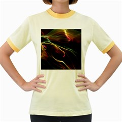 Glowing, Colorful  Abstract Lines Women s Fitted Ringer T Shirts