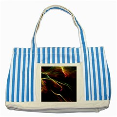 Glowing, Colorful  Abstract Lines Striped Blue Tote Bag
