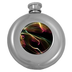Glowing, Colorful  Abstract Lines Round Hip Flask (5 Oz)