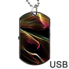 Glowing, Colorful  Abstract Lines Dog Tag USB Flash (Two Sides)