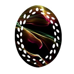 Glowing, Colorful  Abstract Lines Ornament (Oval Filigree)