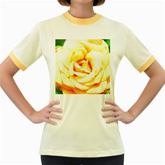 Orange Yellow Rose Women s Fitted Ringer T Shirts