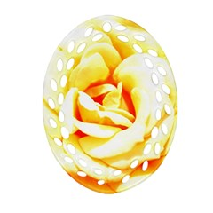 Orange Yellow Rose Oval Filigree Ornament (2 Side)