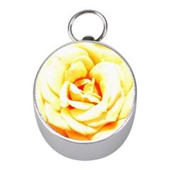 Orange Yellow Rose Mini Silver Compasses