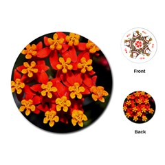 Orange and Red Weed Playing Cards (Round)