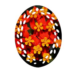 Orange and Red Weed Oval Filigree Ornament (2-Side)