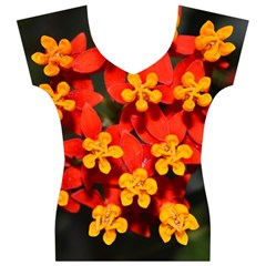 Orange and Red Weed Women s V-Neck Cap Sleeve Top