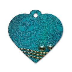 Wonderful Decorative Design With Floral Elements Dog Tag Heart (one Side)