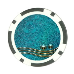 Wonderful Decorative Design With Floral Elements Poker Chip Card Guards