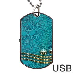 Wonderful Decorative Design With Floral Elements Dog Tag USB Flash (One Side)