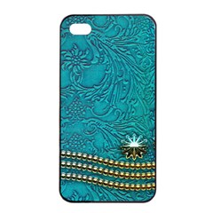 Wonderful Decorative Design With Floral Elements Apple Iphone 4/4s Seamless Case (black)