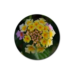 Colorful Flowers Rubber Coaster (round)